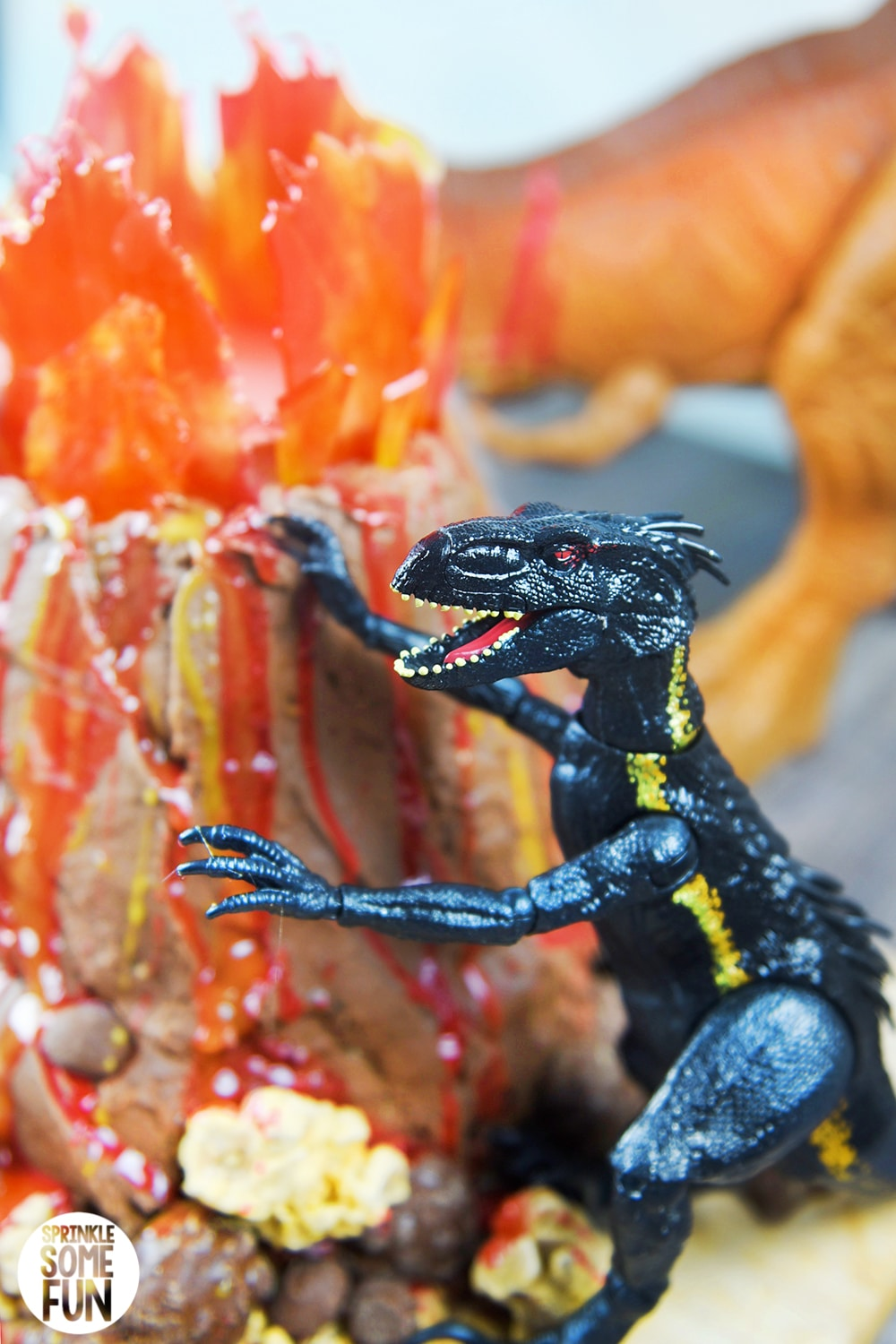 Volcano Cake with Jurassic World toys