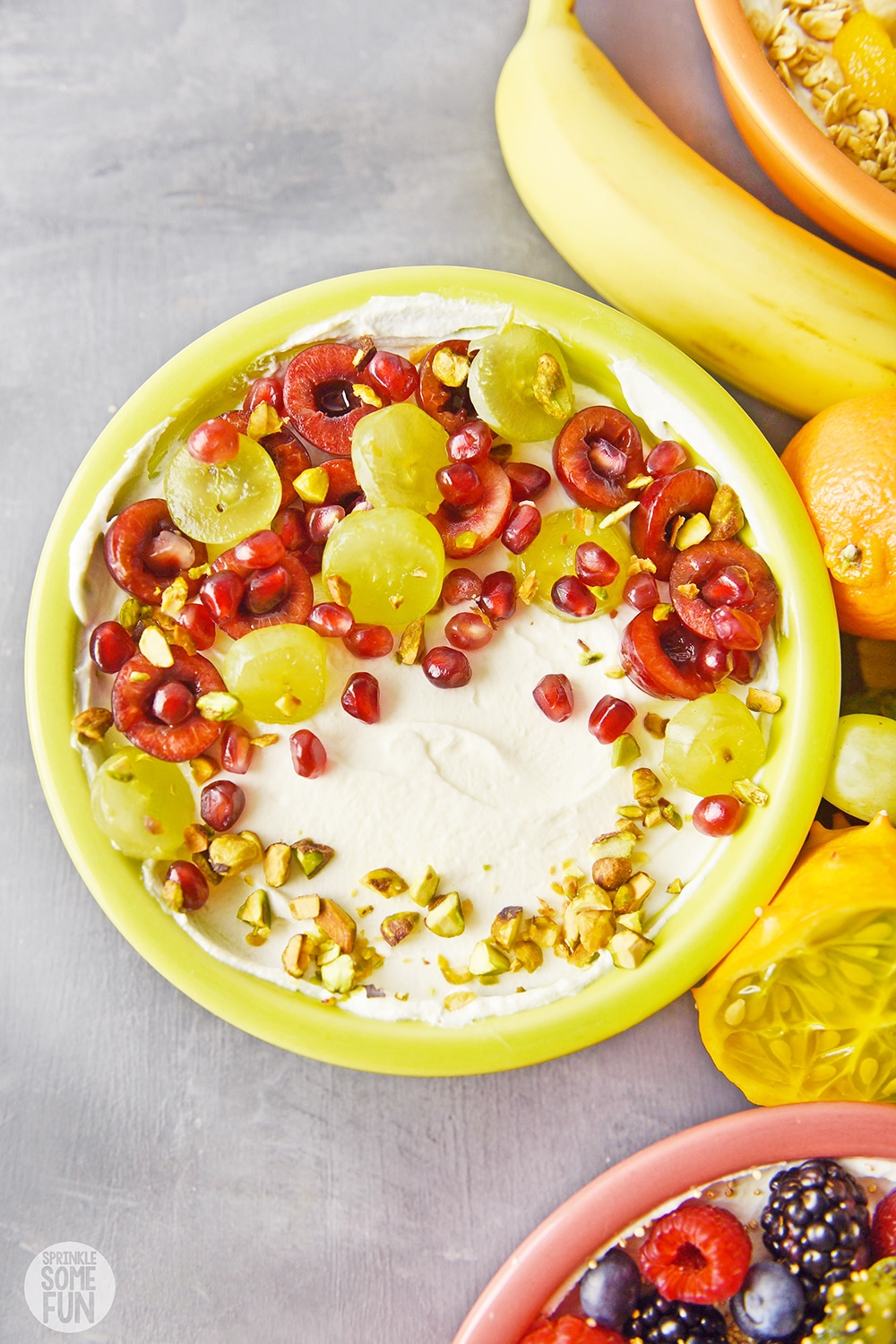 Greek Yogurt bowl with grapes and pomegranite