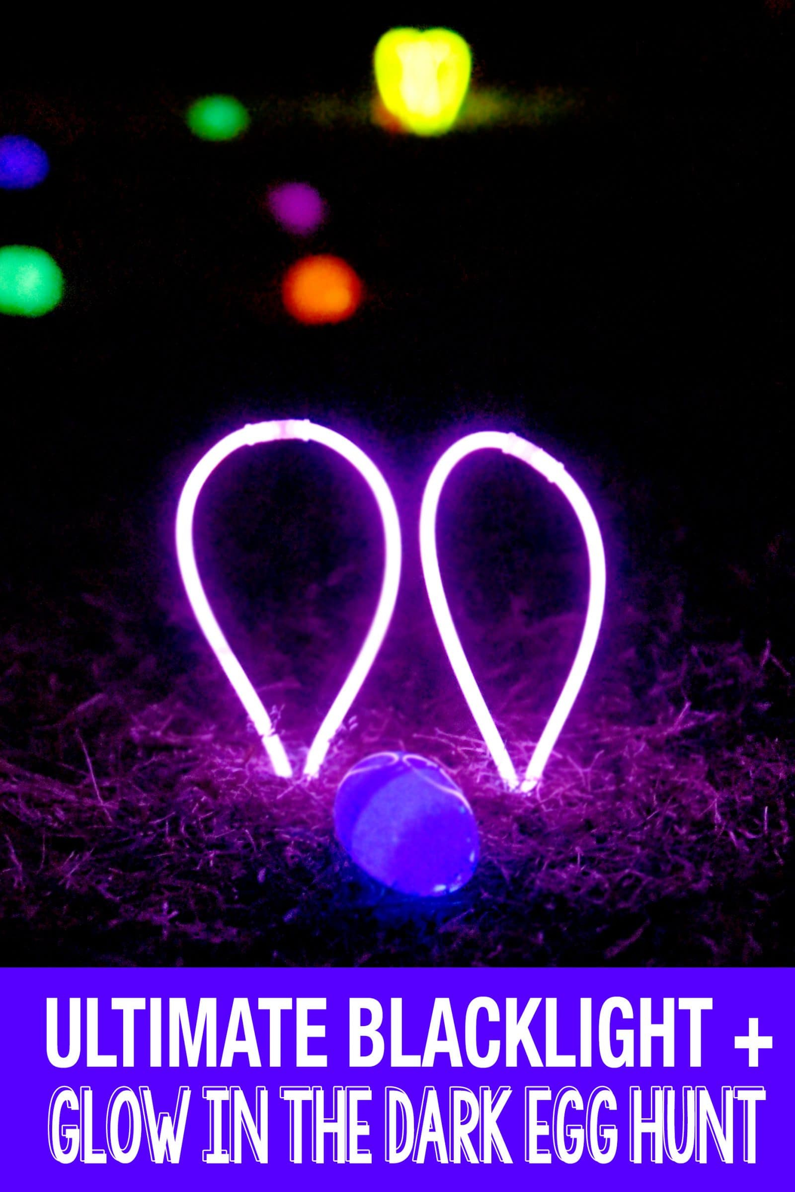 We upgraded our Easter Egg Hunt game this year and we had a Glow in the Dark Egg Hunt with glowing eggs and blacklight reactive eggs too! It's fun for the big kids to find the eggs using a blacklight flashlight and the glowing ones for the littler kids! #easter #easteregghunt