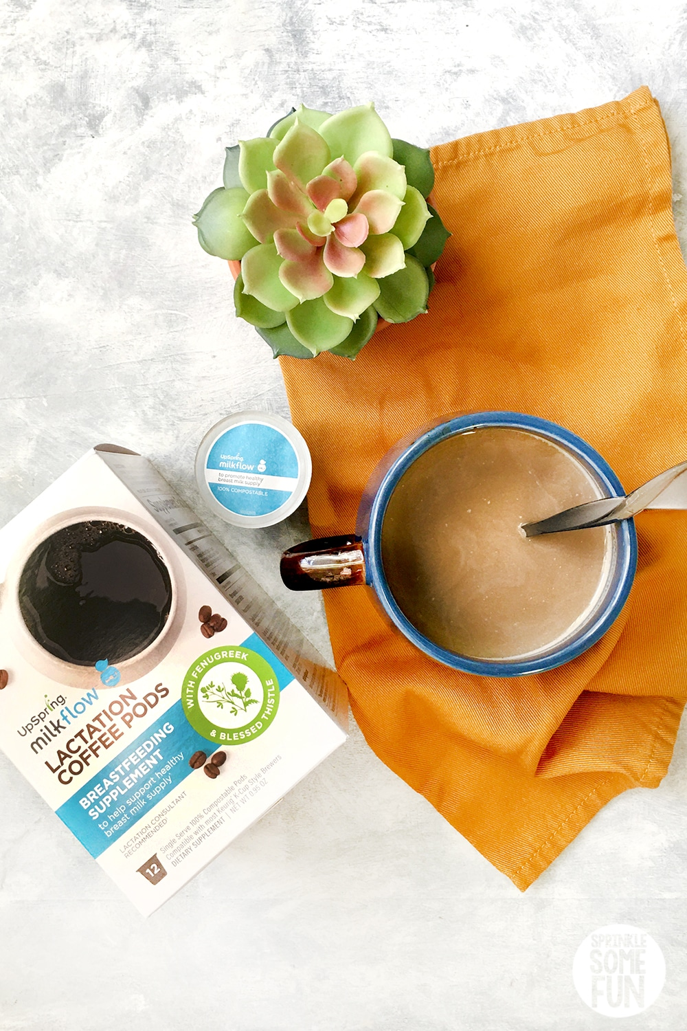 Lactation coffee made with milk.