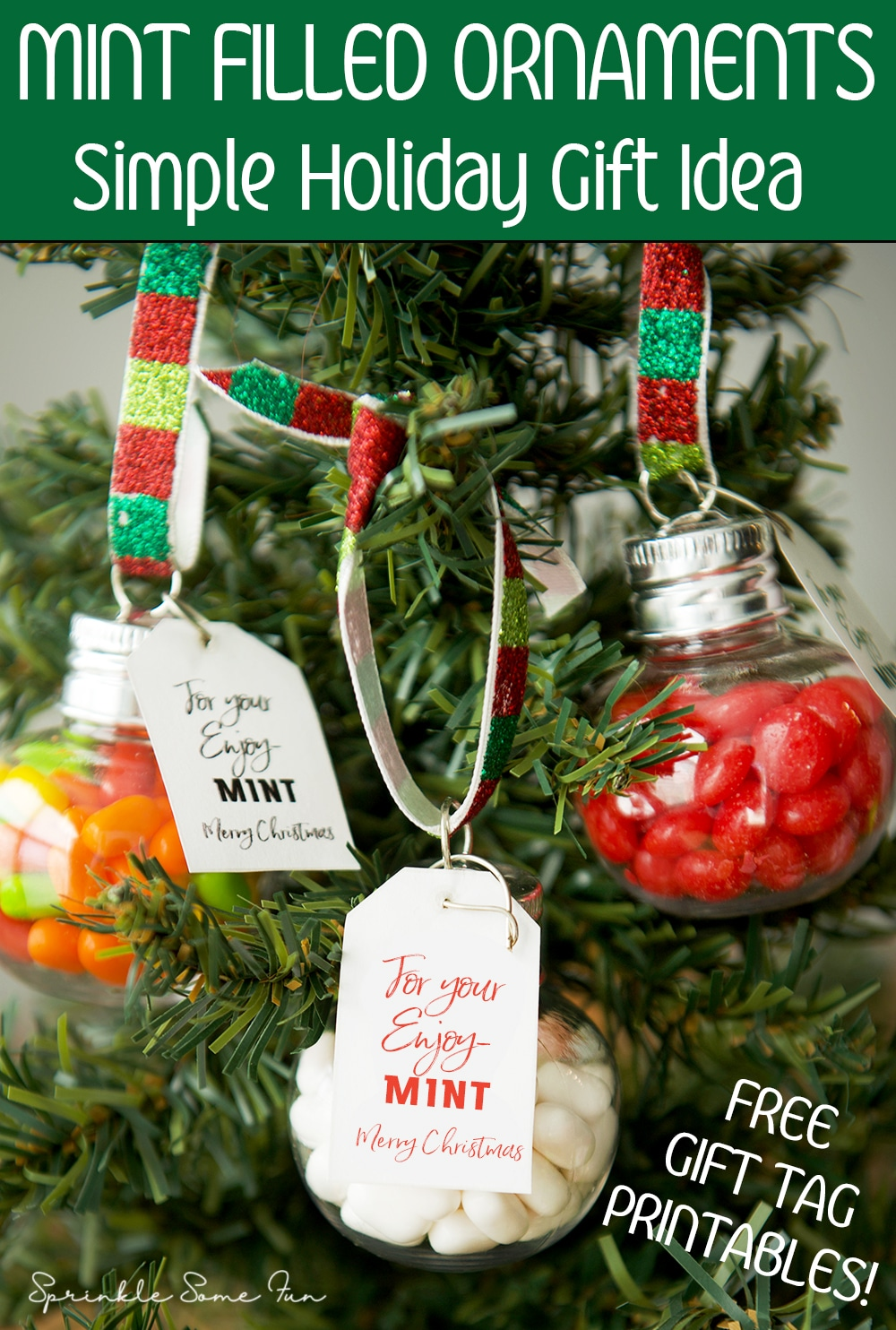 These Mint Filled Ornaments are a simple holiday gift idea you can give to everyone! They also make the perfect stocking stuffers or party favors.